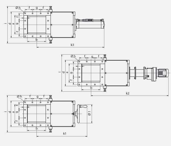 Technischer Aufbau von Schüttgutschieber