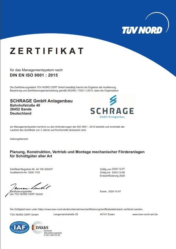 TÜV Nord Zertifikat DIN EN ISO 9001:2015